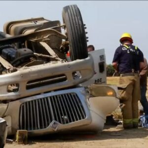 Trucker 'lucky to walk away' from wreck that smashed cab